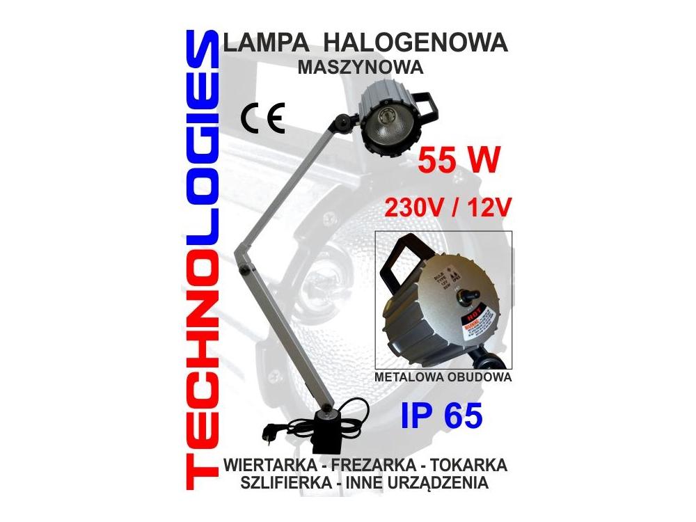 LAMPA MASZYNOWA KWARCOWA / HALOGENOWA -  55W - 230V  DŁUGOŚĆ RAMIENIA 40 CM