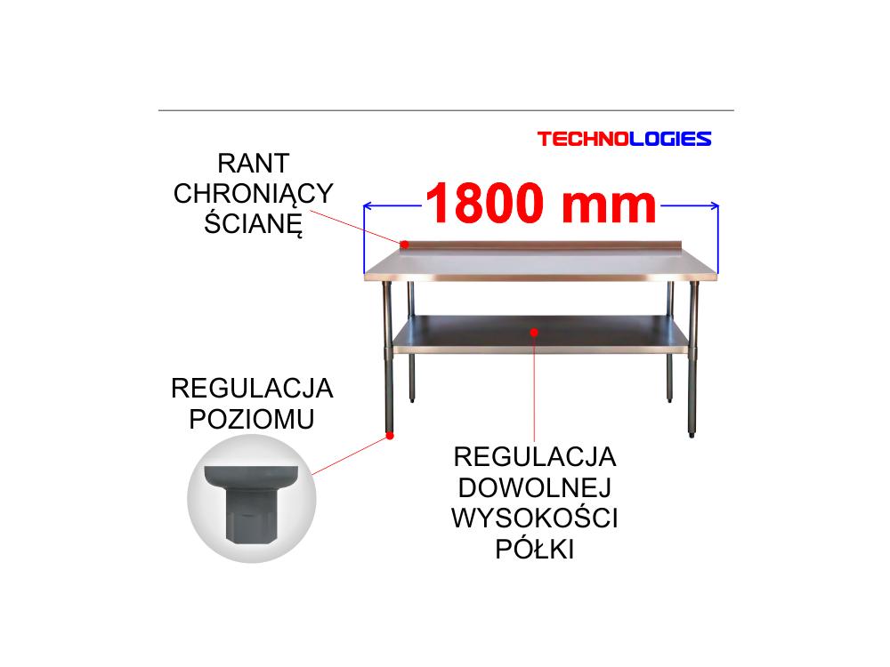 STÓŁ ROBOCZY Z RANTEM I PÓŁKĄ - BLAT STAL NIERDZEWNA / KWASOODPORNA / INOX 1800x700 mm