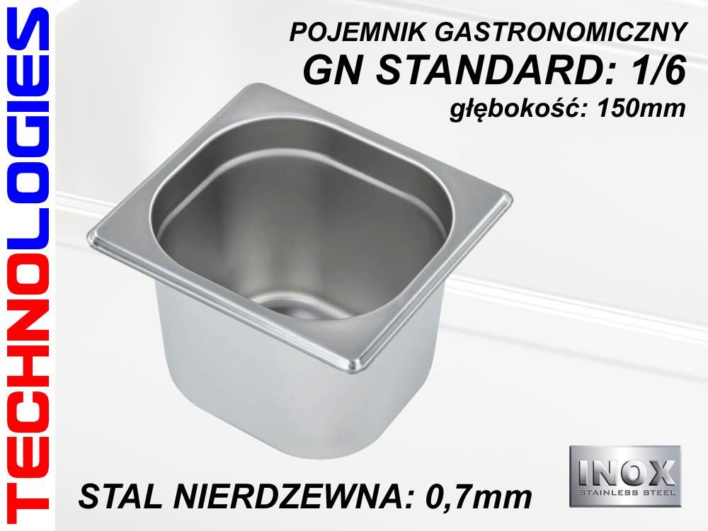 POJEMNIK GASTRONOMICZNY DO ŻYWNOŚCI - GN 1/6 (0.7mm) głęb.150mm STAL NIERDZEWNA (INOX)