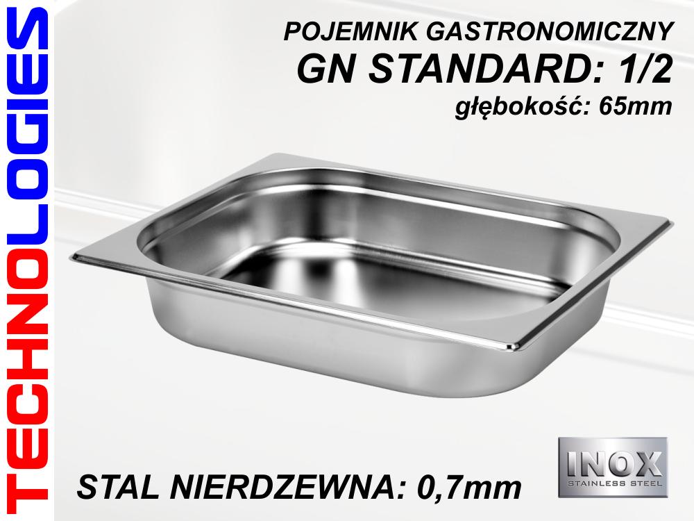 POJEMNIK GASTRONOMICZNY DO ŻYWNOŚCI - GN 1/2 (0.7mm) głęb.65mm STAL NIERDZEWNA (INOX)