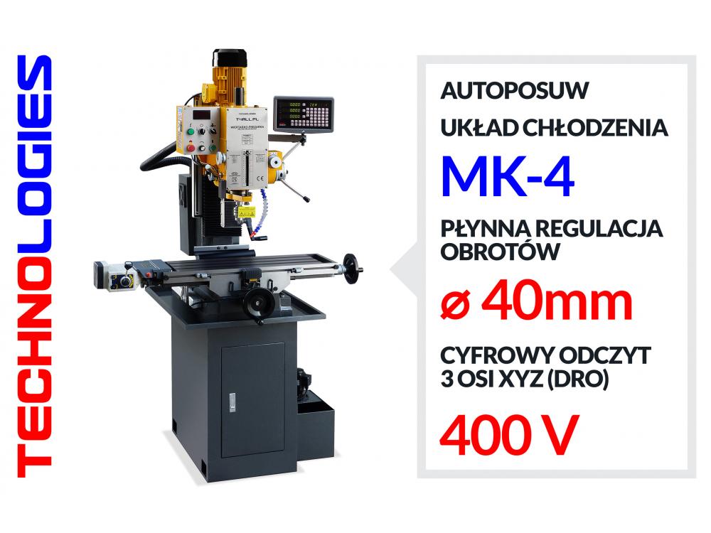 FREZARKO WIERTARKA WIERTARKO FREZARKA GWINCIARKA Z AUTOPOSUWEM / STOŁOWA, SŁUPOWA / MK4 DRO+LCD (LINIAŁY) / FALOWNIK fi 40/80 mm