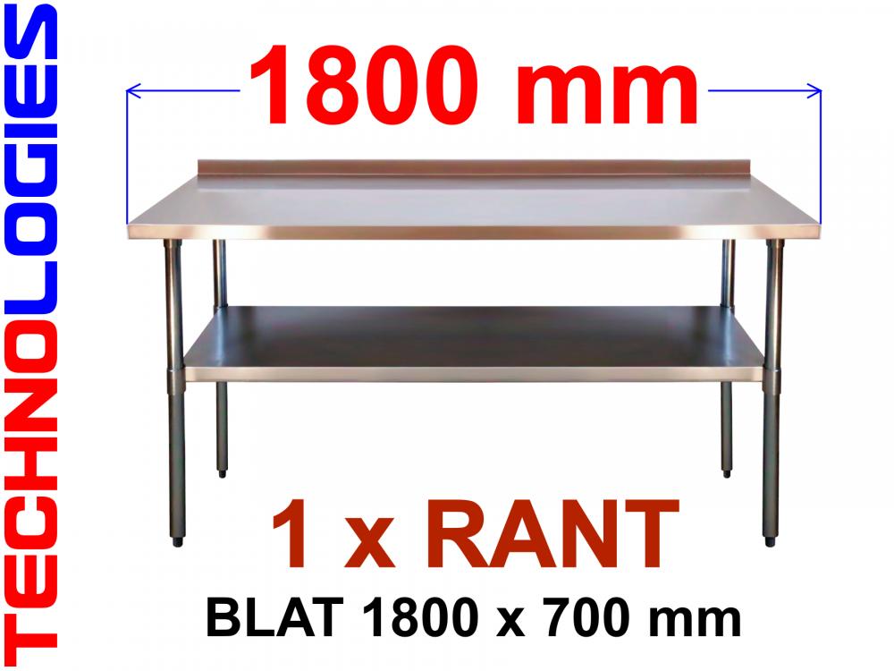 STÓŁ ROBOCZY Z RANTEM I PÓŁKĄ - BLAT STAL NIERDZEWNA / KWASOODPORNA / INOX 180x70 cm