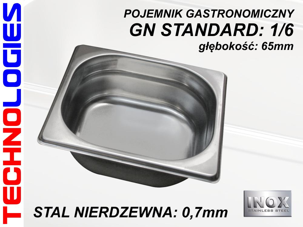 POJEMNIK GASTRONOMICZNY DO ŻYWNOŚCI - GN 1/6 (0.7mm) głęb.65mm ZE STALI NIERDZEWNEJ (INOX)