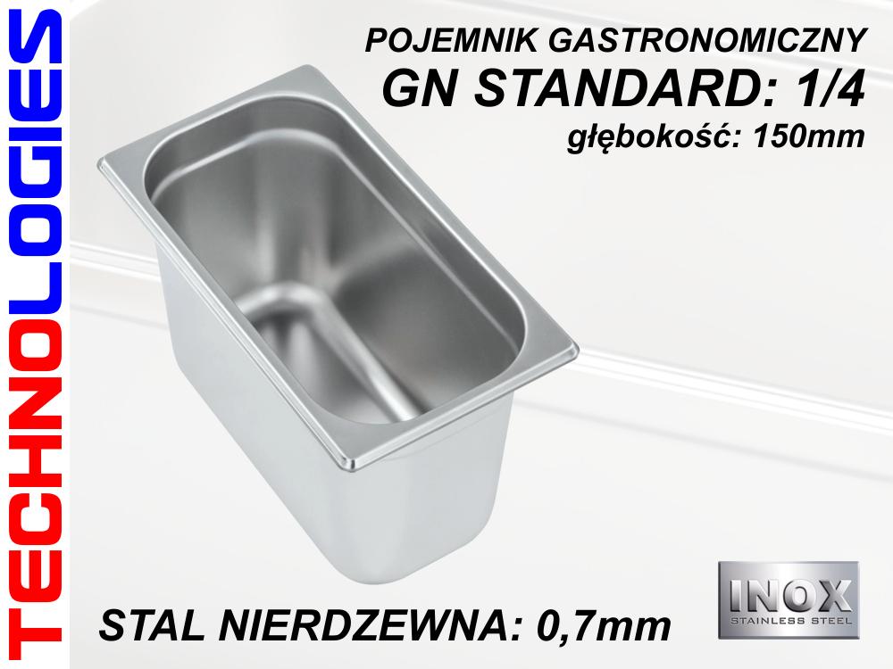 POJEMNIK GASTRONOMICZNY DO ŻYWNOŚCI - GN 1/4 (0.7mm) głęb.150mm STAL NIERDZEWNA (INOX)
