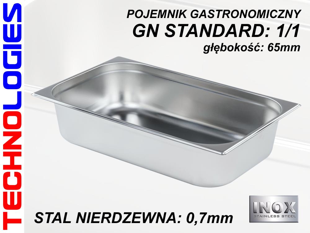 POJEMNIK GASTRONOMICZNY DO ŻYWNOŚCI - GN 1/1 (0.7mm) głęb.65mm STAL NIERDZEWNA (INOX)