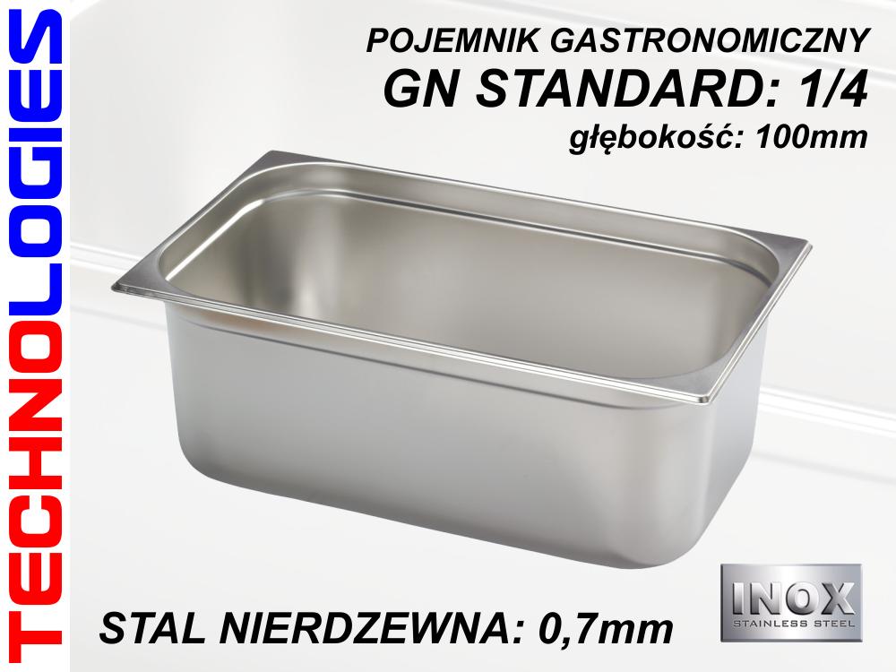 POJEMNIK GASTRONOMICZNY DO ŻYWNOŚCI - GN 1/4 (0.7mm) głęb.100mm ZE STALI NIERDZEWNEJ (INOX)
