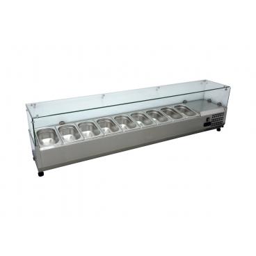 Kühlaufsatzvitrine 180CM, 9 x GN 1/4 - Kühlvitrine mit Glasaufbau für die Gastronomie