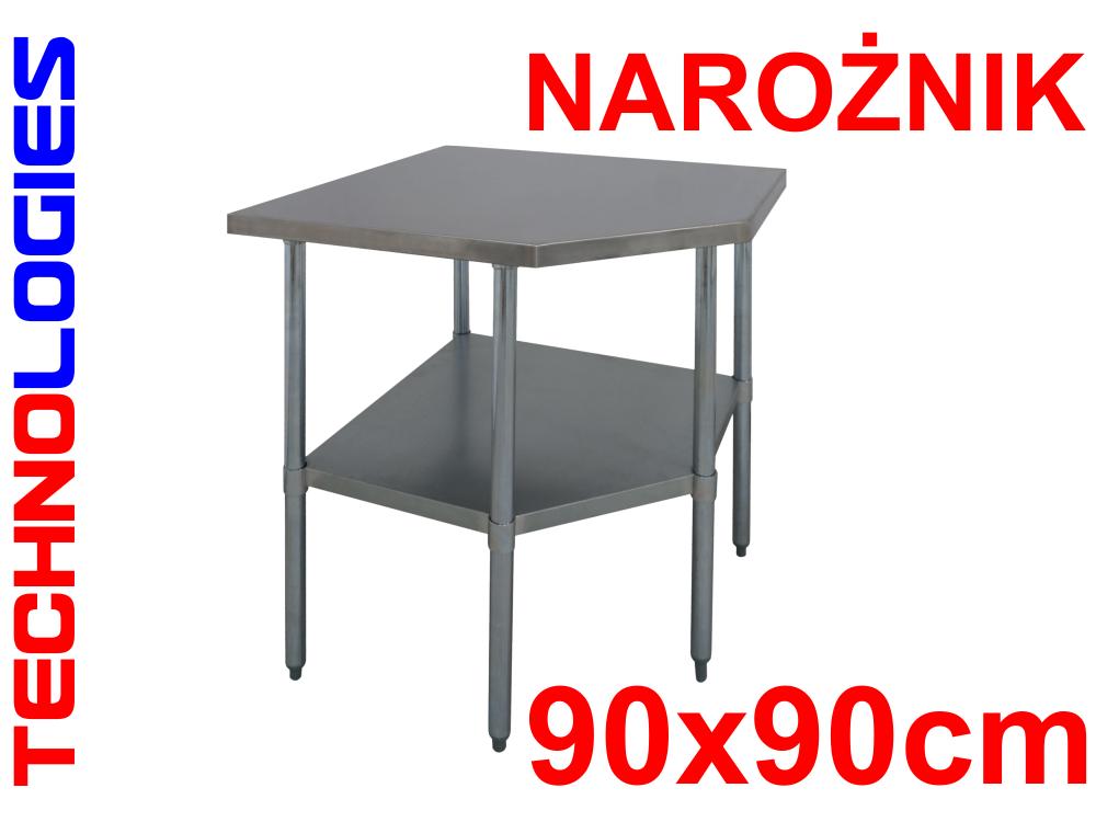 GASZTRONÓMIAI SAROK ASZTAL FALI SZEGÉLYES INOX 90x90cm