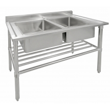 COMMERCIAL SINK STAINLESS STEEL 120 CM DOUBLE BOWL